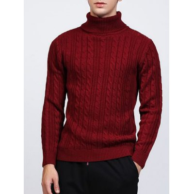 Roll Neck Kink Design Long Sleeve Sweater