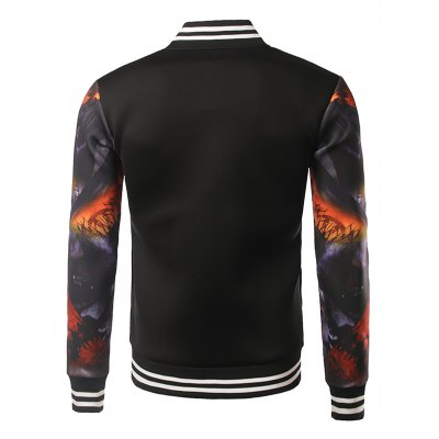 Stand Collar 3D Printed Varsity Striped Jacket