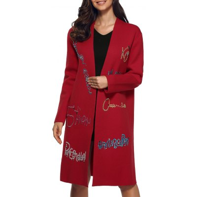 Rhinestone Letters Knitted Overcoat