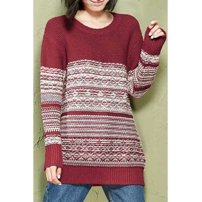 Jacquard Knitted Long Sleeve Sweater