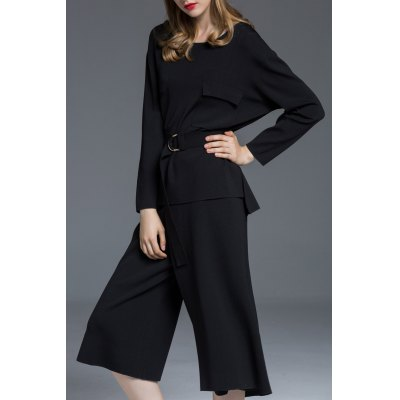 High Low Pocket Sweater With Wide Leg Pants