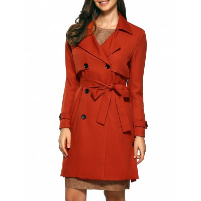 Slim Double-Breasted Tied Belt Trench Coat