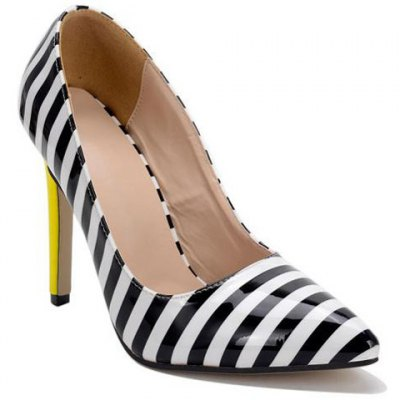 Striped Pattern Patent Leather Pumps