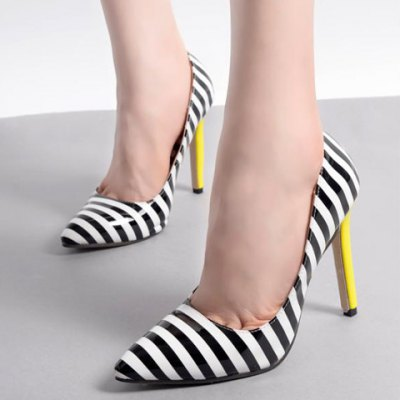 Color Block Striped Pattern Patent Leather Pumps