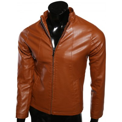 Stand Collar Spliced Design Zip-Up PU-Leather Jacket