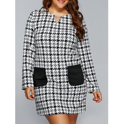 Houndstooth Print Double Pockets Shift Dress