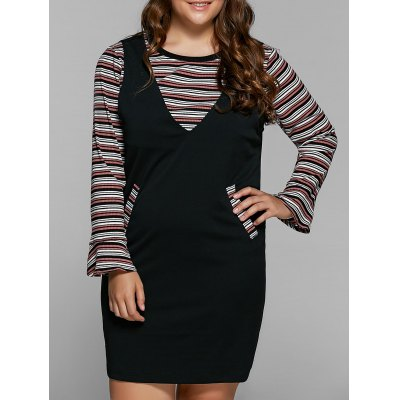 Striped Knitwear and Suspender Dress Twinset