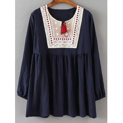 Ruched Embroidery Loose Blouse