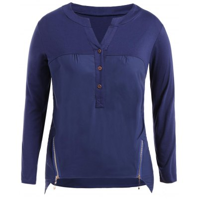 Casual Zipper Buttons Asymmetric Long Sleeve T-Shirt