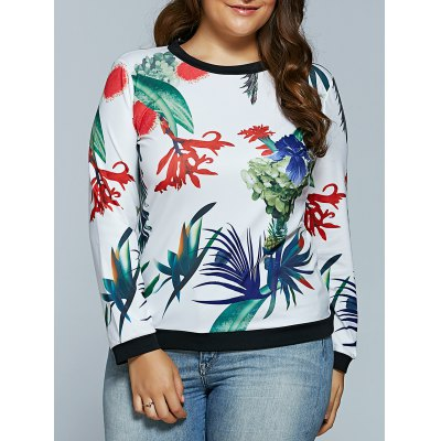 Casual 3D Tropical Plant Print Long Sleeve T-Shirt
