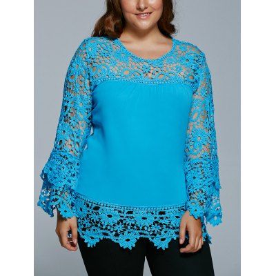 Lace Spliced Hollow Out Plus Size BlousePlus Size Tops<br>Lace Spliced Hollow Out Plus Size Blouse<br><br>Material: Lace,Polyester<br>Clothing Length: Regular<br>Sleeve Length: Full<br>Collar: Jewel Neck<br>Style: Fashion<br>Season: Fall,Spring<br>Pattern Type: Patchwork<br>Weight: 0.350kg<br>Package Contents: 1 x Blouse