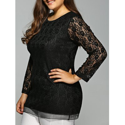 Plus Size Long Sleeve Lace Tee