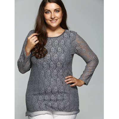 Plus Size Long Sleeve Lace TeePlus Size Tops<br>Plus Size Long Sleeve Lace Tee<br><br>Material: Cotton Blends<br>Clothing Length: Long<br>Sleeve Length: Full<br>Collar: Jewel Neck<br>Style: Fashion<br>Season: Fall,Spring<br>Embellishment: Lace<br>Pattern Type: Others<br>Weight: 0.240kg<br>Package Contents: 1 x Tee