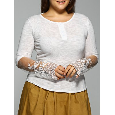 Plus Size Long Sleeve Lace Inset T-Shirt