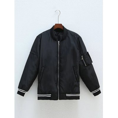 Plus Size Letter Zipped Bomber Jacket