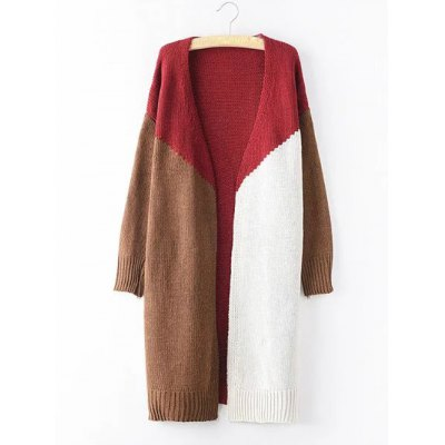 Plus Size Knitted Color Block Cardigan