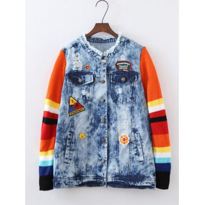 Plus Size Knitted Sleeve Applique Jacket
