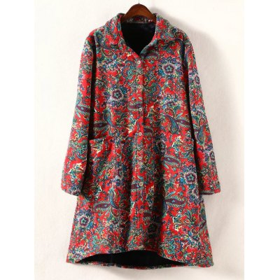 High Low Plus Size Floral Print Coat