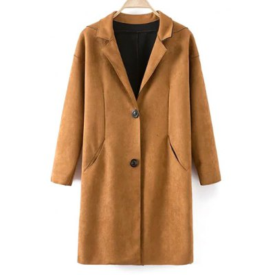 Single Breasted Lapel Faux Suede Coat