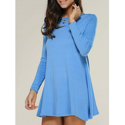 Long Sleeve Plain Knitted Tunic Dress
