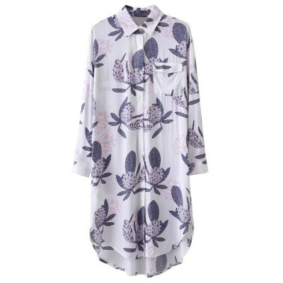 Button Printed Longline Shirt