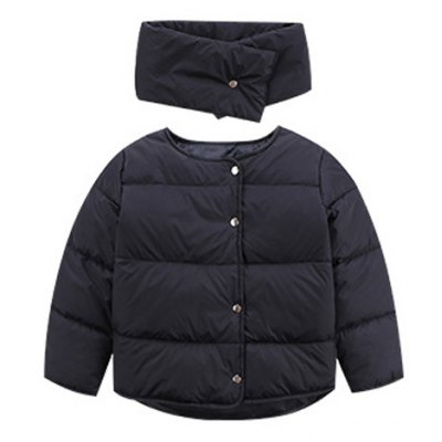 Button Up Puffer Jacket with Scarf