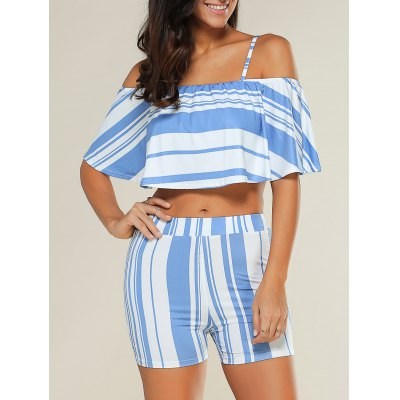 Stripe Overlay Off Shoulder Cropped Top with Blue and White Shorts