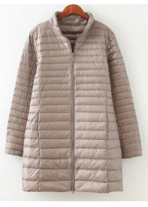 Textured Zipped Plus Size Down Coat