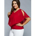 cheap Plus Size Overlay Slit Sleeve Skinny Blouse