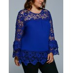 Lace Spliced Hollow Out Plus Size Blouse for sale