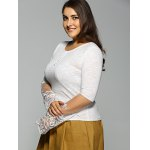 Slim Lace Spliced High Low T-Shirt deal