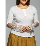 Slim Lace Spliced High Low T-Shirt