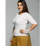 Plus Size Long Sleeve Lace Inset T-Shirt for sale