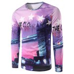 Building 3D Print Round Neck Long Sleeves T-Shirt