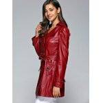 cheap Self-Tie Button Up Faux Leather Coat