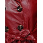 Self-Tie Button Up Faux Leather Coat for sale