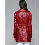 Self-Tie Button Up Faux Leather Coat deal