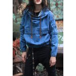 Embroidered Pullover Denim Hoodie deal