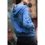 cheap Embroidered Pullover Denim Hoodie