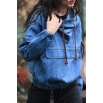 Embroidered Pullover Denim Hoodie