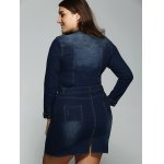 Plus Size Belted V Neck Fitted Jean Shirt Dress for sale