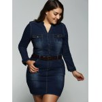 cheap Plus Size Belted V Neck Fitted Jean Shirt Dress