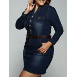 Plus Size Belted V Neck Demin Dress