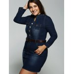 Plus Size Belted V Neck Fitted Jean Shirt Dress deal