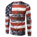 cheap Long Sleeves Flag Pattern 3D Print T-Shirt