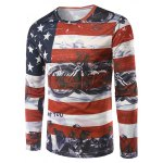 Long Sleeves Flag Pattern 3D Print T-Shirt
