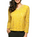 Slim Openwork Floral Lace Blouse