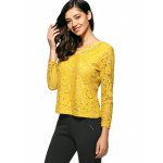 cheap Slim Openwork Floral Lace Blouse