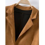 Single Breasted Lapel Faux Suede Coat deal