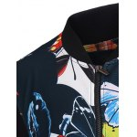 3D Color Block Butterfly Print Stand Collar Zip-Up Jacket deal